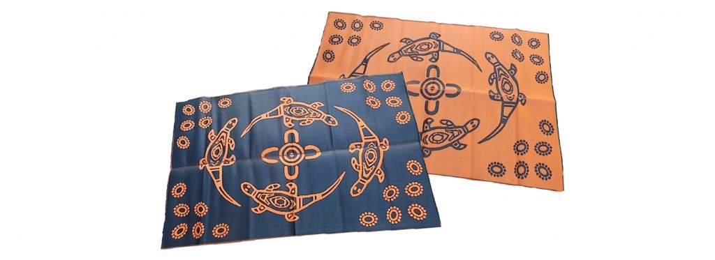Choose from vibrant range of Aboriginal designs in recycled mats exclusively sold by Leave It to Leslie.