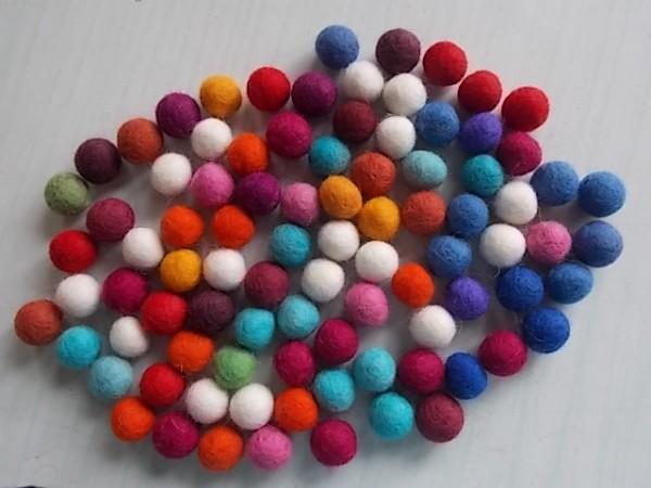 rainbow felt balls 1.5 cm