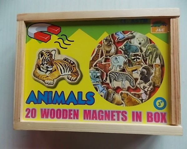 wooden magnetic animals