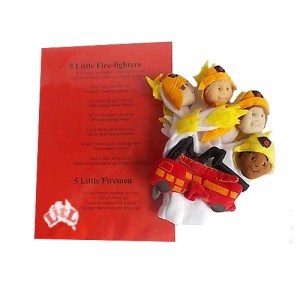 five little fire fighters mitt