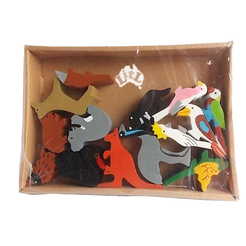 wooden australian animal set