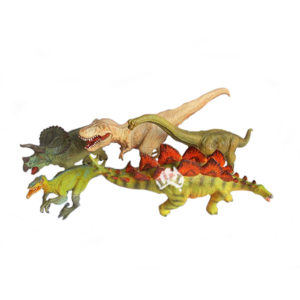 set of five soft pvc dinosaurs