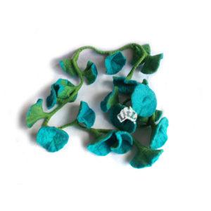 aqua felt flower garland 176 cm