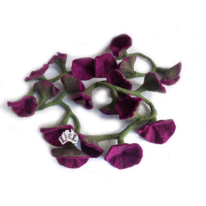 purple felt flower garland 176 cm