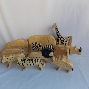 smooth edge wooden wild animal blocks
