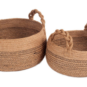 2 round jute baskets with handles