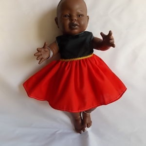doll's dress red yellow black