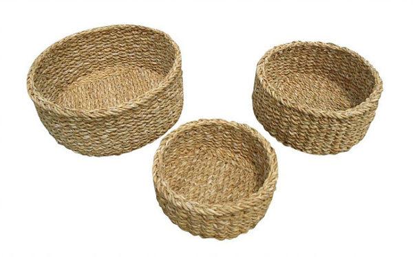 set three oval baskets flat side