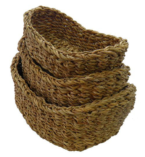 set three oval baskets