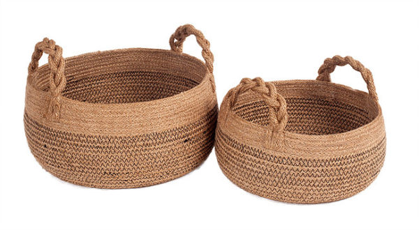 set two jute round baskets