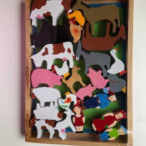 painted farm animals and farm fdamily