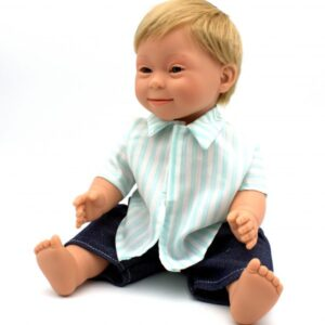 blonde boy doll with down syndrome features